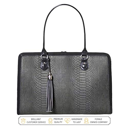 BFB Laptop Bag for Women - 17 inch Computer Briefcase for Women Handmade Luxury Vegan Leather Designer Stylish Travel Business Shoulder Messenger Work Tote Carrying Computer Case for Laptops - Grey