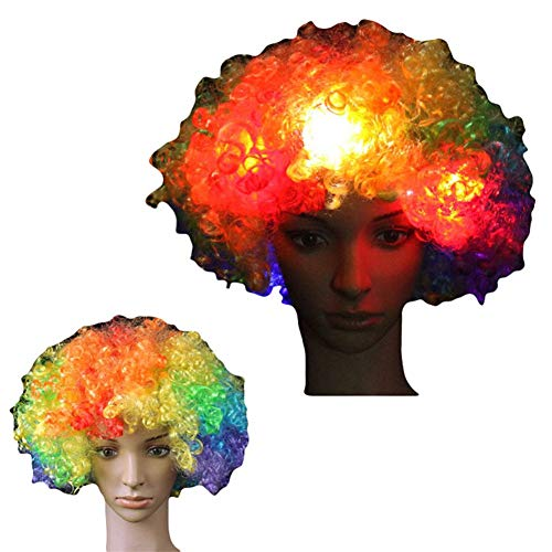LED Cosplay Flashing Wig Short Curls Hair Wave Head Cute Multi-Color Glowing Costume Funny Clown Clothing Make up Carnival Concert Masquerade World Soccer Cup Realistic Headgear Christmas(Pack of -