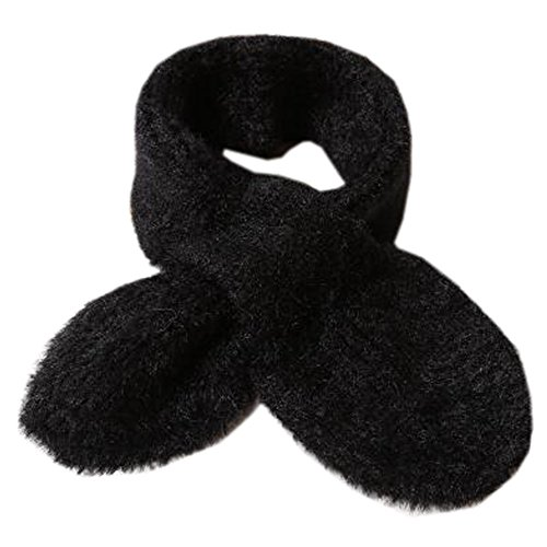 家庭著者間接的婦人婦人暖かい柔らかいスカーフぬいぐるみの襟のスカーフを編むNeckerchiefネックウォーマー、黒