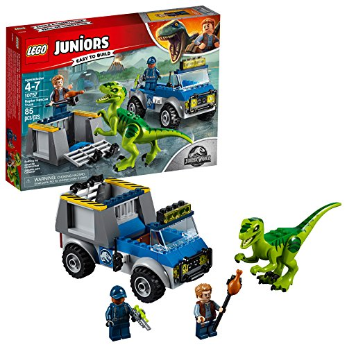 LEGO Juniors/4+ Jurassic World Raptor Rescue Truck 10757 Building Kit (85 Piece)]()