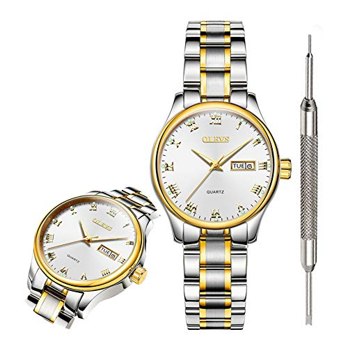 OLEVS Classic White Watches for Women Waterproof Inexpensive Analog Quartz Wrist Watches for Men Calendar 2019 Couple Watches Gift Watch