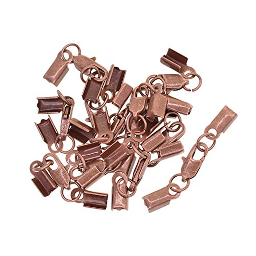 Homyl 12 Sets Ribbon Cord End Tips Caps Fold Over Crimps Clamp Clips Connectors with Lobster Clasp End Clamps Jewelry Making Findings Accessories - Antique copper