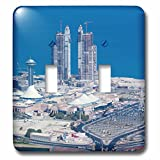 3dRose Danita Delimont - Cities - UAE, Abu Dhabi. Marina Village and Arabian Gulf, aerial view - Light Switch Covers - double toggle switch (lsp_277130_2)