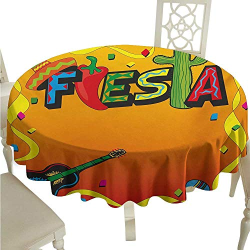 Round Tablecloth Black Fiesta,Latino Pattern with Swirled Stripe Frame with Musical Instruments Confetti Design,Multicolor D70,for Party (Musical Moroccan Instruments)