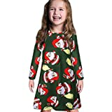 GoodLock Clearance!! Baby Boys Girls Christmas Dress Toddler Kids Long Sleeve Cartoon Print Dress Clothes (Green, 18 Months)