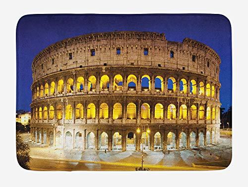 (TAQATS The Colosseum Bath Mat, Historic Imperial Roman Architecture European Culture Symbol, Plush Bathroom Decor Mat with Non Slip Backing, 23.6 W X 15.7 W Inches, Royal Blue Yellow Brown)