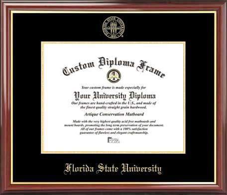 Laminated Visuals Florida State University Seminoles - Embossed Seal - Mahogany Gold Trim - Diploma Frame