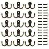 eBoot 15 Pieces Double Prong Robe Hook Retro Cloth Hanger with 30 Pieces Screws (Bronze)