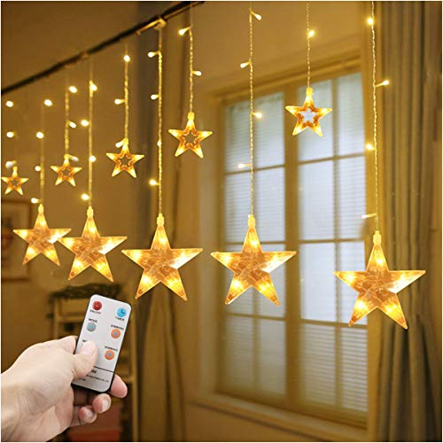 12 Stars Curtain String Lights,Window Curtain Lights with Remote 138 LED 8 Flashing Modes Timer Decoration Lights for Christmas Holiday Party Home Bedroom Patio Lawn,7.3ft x 3.3ft (LxW),12 Strings