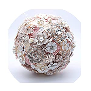 WodCht Beautiful Silk Wedding Flowers Rhinestone Jewelry Blush Pink Brooch Bouquet Gold Broach Bridal Wedding Bouquet 81