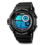 Kids Boys Watch, Mens Digital Sport Electronic LED Waterproof Military Design 50M 5ATM Water Resistant Stopwatch 7 Color Backlight - White