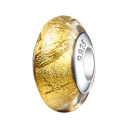 ATHENAIE Murano Glass 925 Silver Core Gold Foil Charm Bead