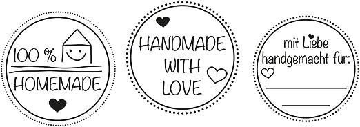 Stempel Handmade mit Herz 30mm Durchmesser
