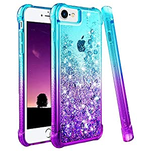 Ruky iPhone 6 6S 7 8 Case, iPhone SE 2020 Case, Gradient Quicksand Series Glitter Bling Flowing Liquid Floating TPU…
