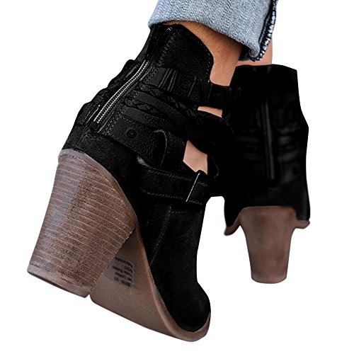 Strap Boots Block Heels Black Ankle Women's XMWEALTHY Heels Booties Buckle Chunky qtHAXxOw