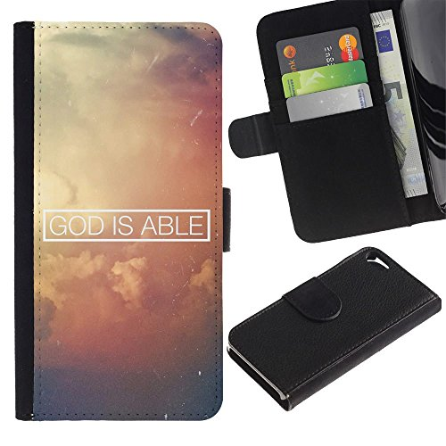 OMEGA Case / Apple Iphone 5 / 5S / GOD IS ABLE / Cuir PU Portefeuille Coverture Shell Armure Coque Coq Cas Etui Housse Case Cover Wallet Credit Card