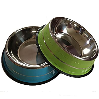 4LoveDogs 32oz Green and blue Large Stainless Steel Dog Bowls,Set of 2