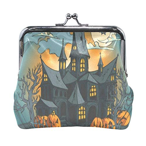 (Coin Purse Halloween Haunted Castle Full Moon Night Womens Wallet Clutch Bag Girls Small)