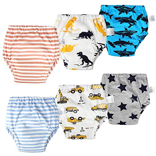 【2019 Newest】 Toddler Dinosaur Training Pants 6 Layel Potty Training Underwear for Baby Boys and Girls Cotton and Soft 6 Pack (Boy,4T)