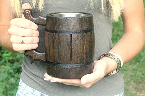 Wooden Beer Mug Eco-Friendly 20oz 0.6L Stainless Steel Cup Men Brown Wood Tankard Wedding Gift Beer Mug by WorldMaker | Exclusive Handmade goods (Image #5)