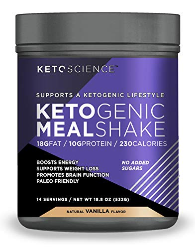 Keto Science Ketogenic Meal Shake Vanilla Dietary Supplement, Rich in MCTs and Protein, Keto and Paleo Friendly, Weight Loss, 19 oz. (14 Servings)