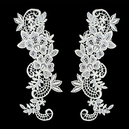 Pair of White or Ivory Floral Venice Lace Applique Embroidered Bridal Guipure Patch Motif (2 pieces) (Ivory) ()