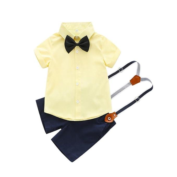 2PCs Neonato Papiglion Cravatta Camicia con Bottoni T-Shirt Cime + Bretelle  Pantaloncini con Tasca cd2dad412e1
