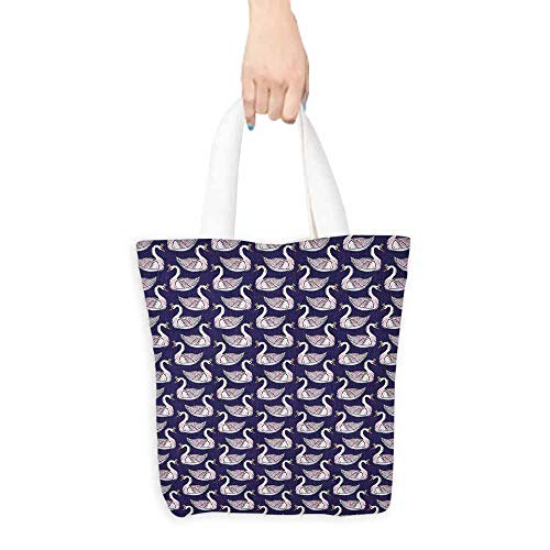 Canvas craft tote Swan Pale Pink Waterfowls with Princess Tiaras Graceful Fauna Artistic Animals reusable 16.5