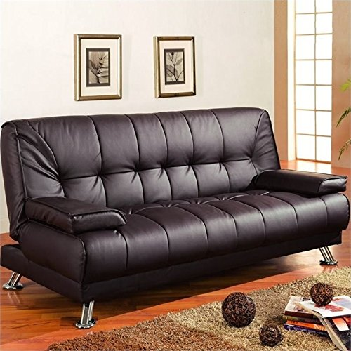 Bowery Hill Brown Faux Leather Convertible Sofa
