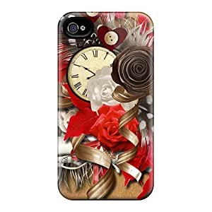 New Time By The Clock Tpu Case Cover, Anti-scratch MeSusges Phone Case For Iphone 4/4s