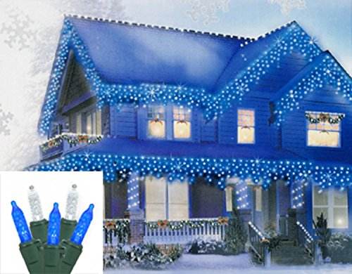 Vickerman Blue and Pure White LED M5 Mini Icicle Christmas Lights with Green Wire, Set of 70