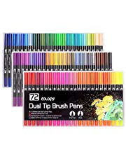 72 kolorowe pisaki pędzelkowe z dwoma końcówkami, flamastry do malowania, dla dorosłych i dzieci, malowanie, szkicowanie, rysowanie (czarne)