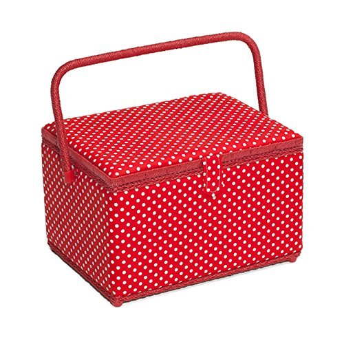 White/Red Polka Dot Large Sewing Basket HobbyGift MRL/19 Groves Asia