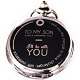 Pocket Watch - Engraved 'To My Son' - Perfect Graduation/Birthday Gift From a Mother/Father to Son - Vintage Style Pocket Fob Watch Necklace Chain Quartz With Exclusive Gift Box +EGuide How to use