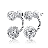 Hotshopping Fashion Jewelry Shamballa 925 Sterling Silver Double Hoop Ball Stud Earrings for Lovers(8mm)