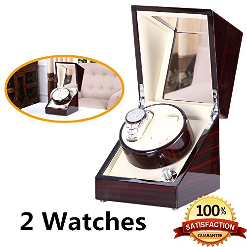 [New Arrival] Love Nest Handmade Wood Automatic Watch Winder Box Double/Dual Watch Winder 2 with Quiet Japanese Mabuchi Motor(power included)