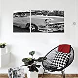 Liguo88 Custom canvas Vintage 50s 60s Retro Classic Pin Up Style Cars in Hollywood Movies Image Artwork Wall Hanging for Bedroom Living Room Black White and Gray