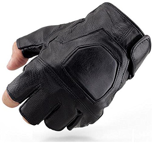 K-mover Half Finger Leather Gloves Fingerless Street Dance Glove Cycling Gloves Universal Fit One Size by K-mover (Image #1)