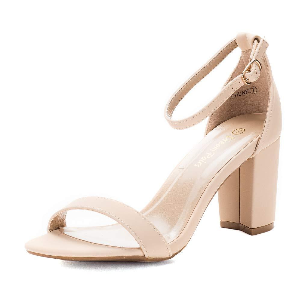 DREAM PAIRS Women's Chunk Nude Nubuck Low Heel Pump Sandals - 9.5 M US