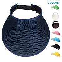 Woopoo Wide Brim Sun Visor Hat Cap Women Fashion Uv Large Lady Protection Beach Straw Roll up Clip Cover Summer Ladies (Navy)