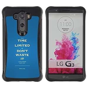 All-Round híbrido Heavy Duty de goma duro caso cubierta protectora Accesorio Generación-II BY RAYDREAMMM - LG G3 - Time Limited Waste Inspiring Message
