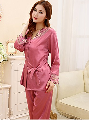 Sunjune para mujer satén seda encaje manga larga ropa de dormir pijamas Set de pijama dos piezas Color 1