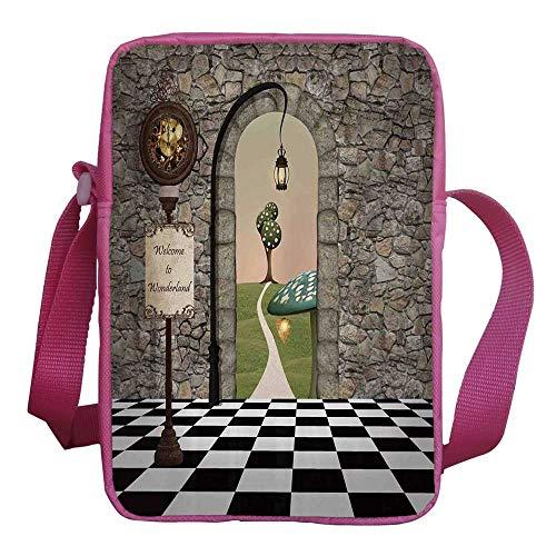 "Alice in Wonderland Stylish Kids Crossbody Bag,Welcome Wonderland Black and White Floor Tree Landscape Mushroom Lantern Decorative for Girls,9""H x 6""L x 2""W"