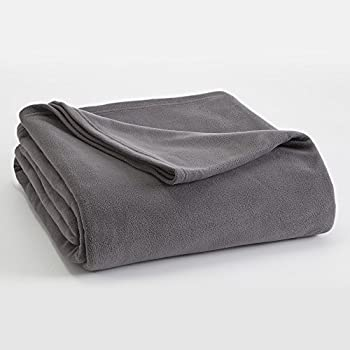 FLEECE BLANKET BY VELLUX - Full/Queen, Microfiber, Polar fleece, Lightweight, Warm, Soft - Tornado Grey
