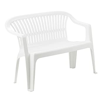 Cool Greemotion Stackable Plastic Garden Bench Diva 2 Seater Outdoor Stacking Bench Monoblock Bench For Terrace Balcony Weather Resistant White Ibusinesslaw Wood Chair Design Ideas Ibusinesslaworg