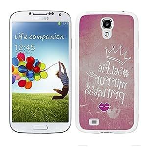 """Funda carcasa TPU Gel para Samsung Galaxy S4 diseño ilustración para selfie """"selfie mirror princess"""" borde blanco"""
