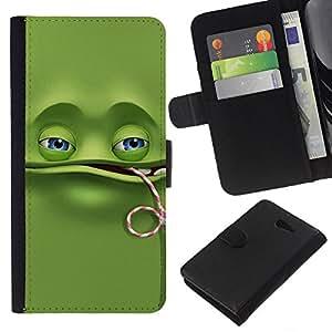 YiPhone /// Tirón de la caja Cartera de cuero con ranuras para tarjetas - Divertido de la rana verde - Sony Xperia M2