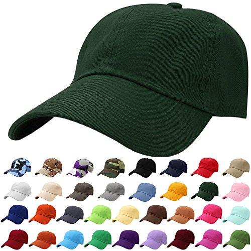 Falari Baseball Cap Hat 100% Cotton Adjustable Size Dark Green - Baseball Fit Cap