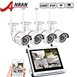 Cheap ANRAN 4CH 1080P HD NVR Wireless Security CCTV Surveillance Systems with 2.0MP WIFI Indoor Outdoor 65ft Night Vision IP Cameras, NVR with 12″ Monitor, P2P,No Hard drive included
