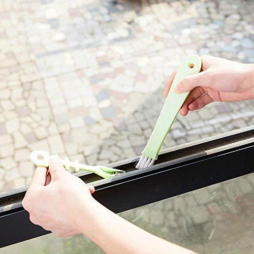 CWAIXX Cepillo recogedor de grietas múltiples funciones a un cepillo de surco esquina mango largo cepillo para barrer a través de la ventana de la ranura de la ventana de la esquina